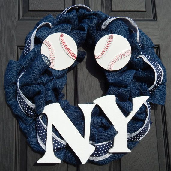 New York Yankees Burlap Wreath  Baseball by RobertsWreaths on Etsy, $35.00