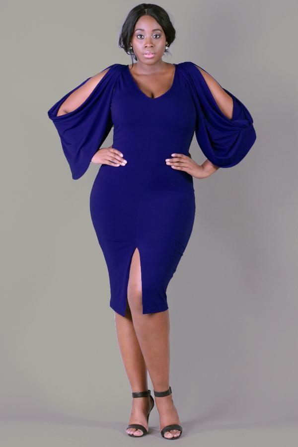Plus Size Cold Shoulder Grecian Dress - Royal Blue | Cold shoulder ...