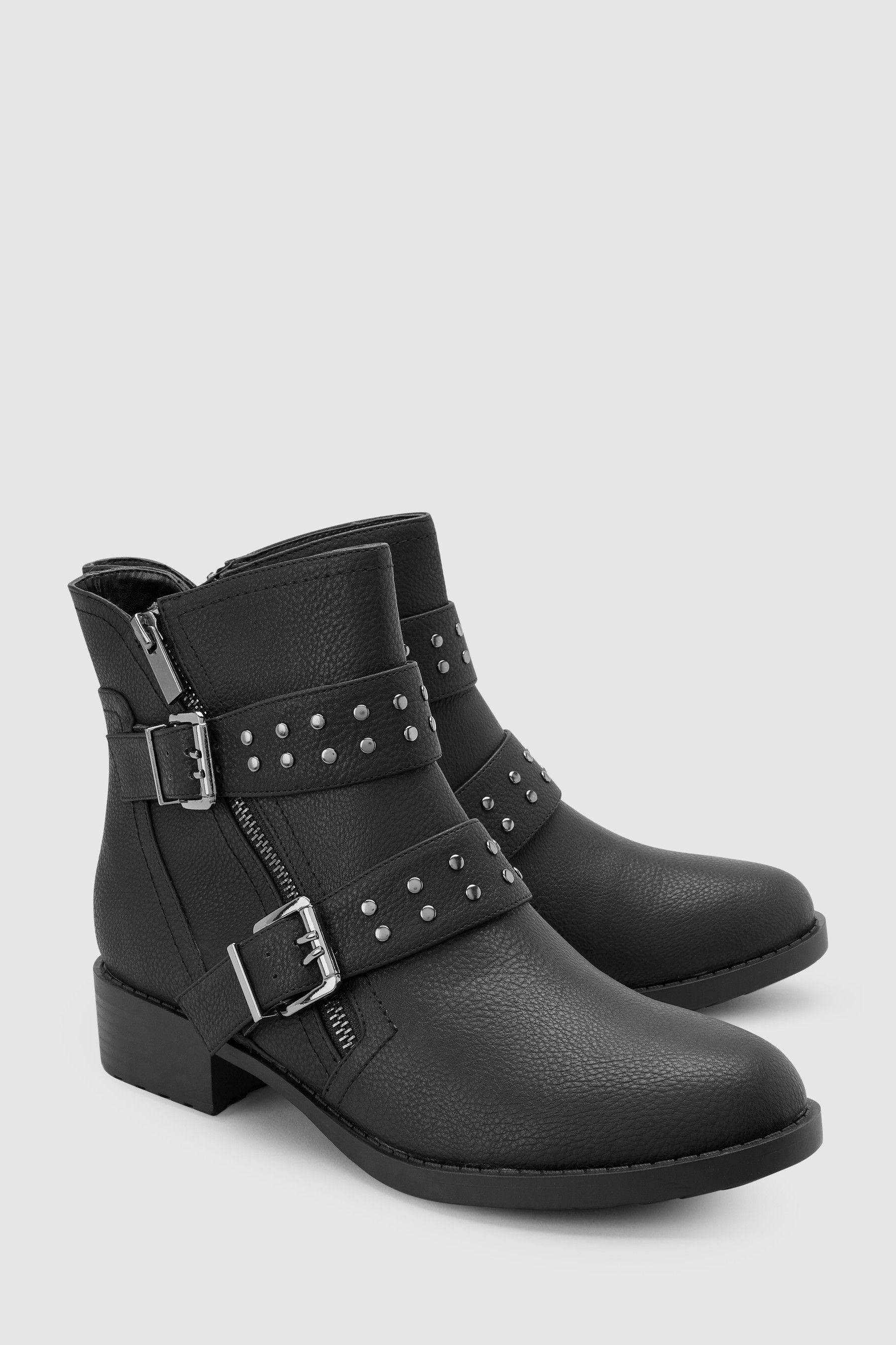 Black Biker Ankle Boots - Black
