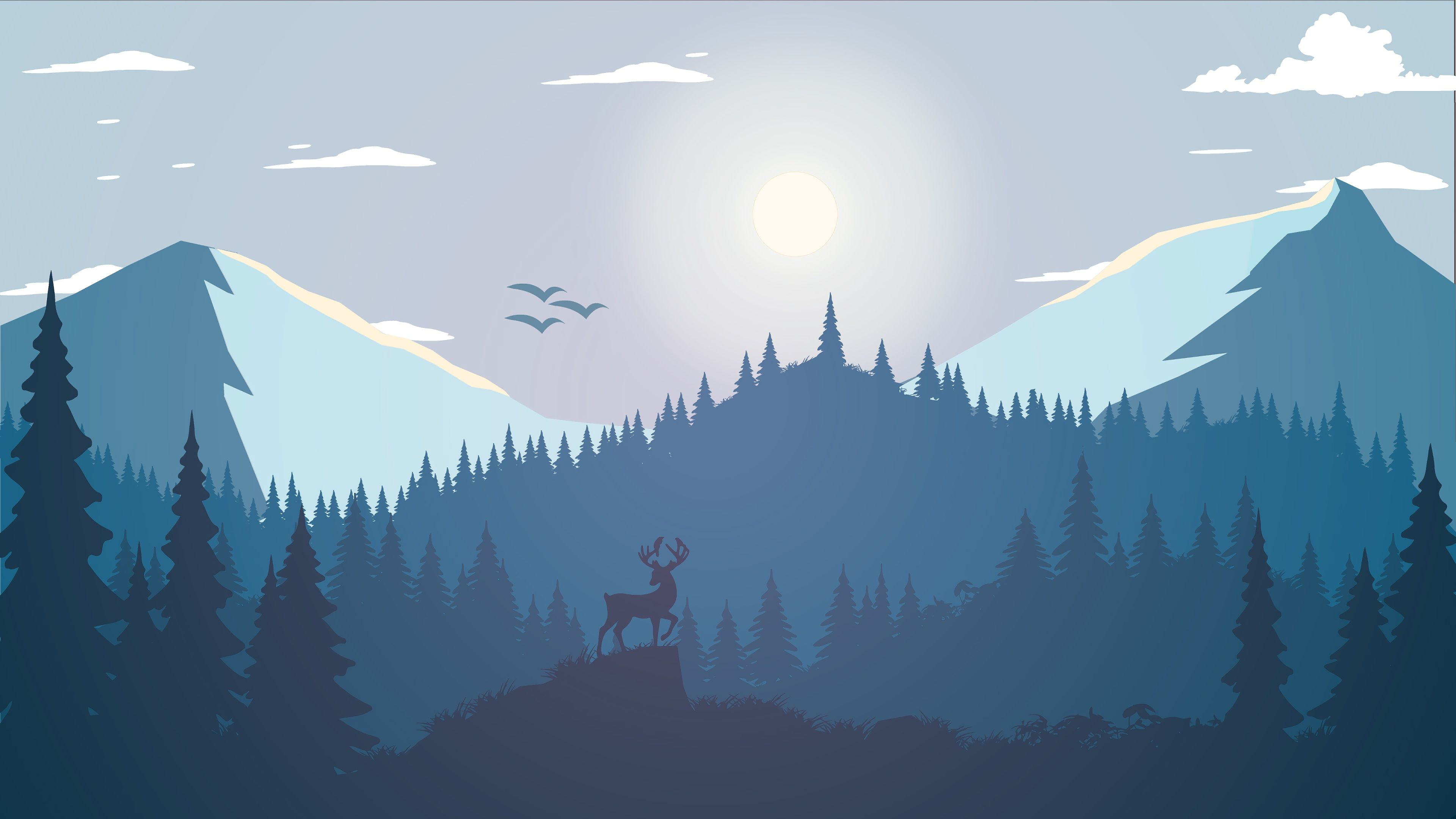 Nature Minimalist Forest Mountain 4k 2628 Computer Wallpaper Desktop Wallpapers Digital Wallpaper Computer Wallpaper Hd