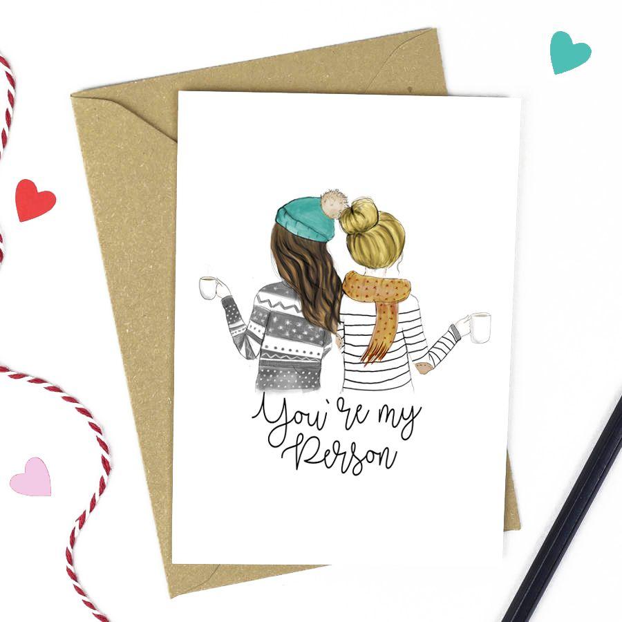 Best Friend Cards You Re My Person Brunette Dark
