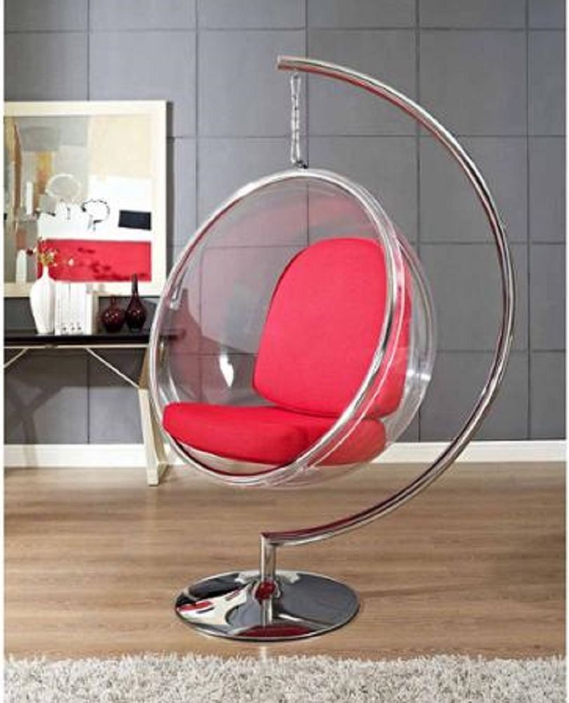Round Ring Lounge Chair W 6 Ceiling Chain Stylish Modern Indoor Hanging Swing Bubble Chair Cool Chairs Hanging Chair