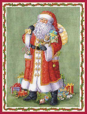 caspari santa in brocade coat boxed christmas cards box of 16 86203