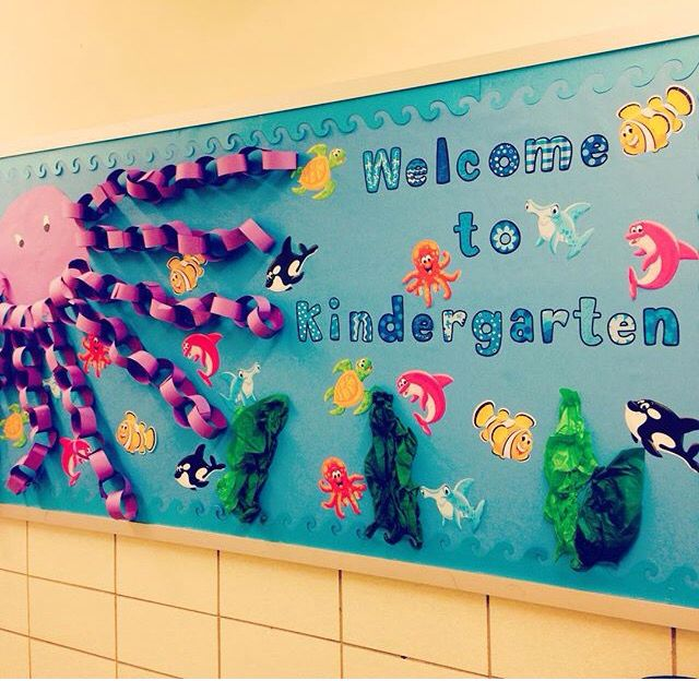 My Attempt At A Under The Sea Kindergarten Welcome Bulletin Board Ocean Theme Classroom Kindergarten Bulletin Boards Welcome To Kindergarten