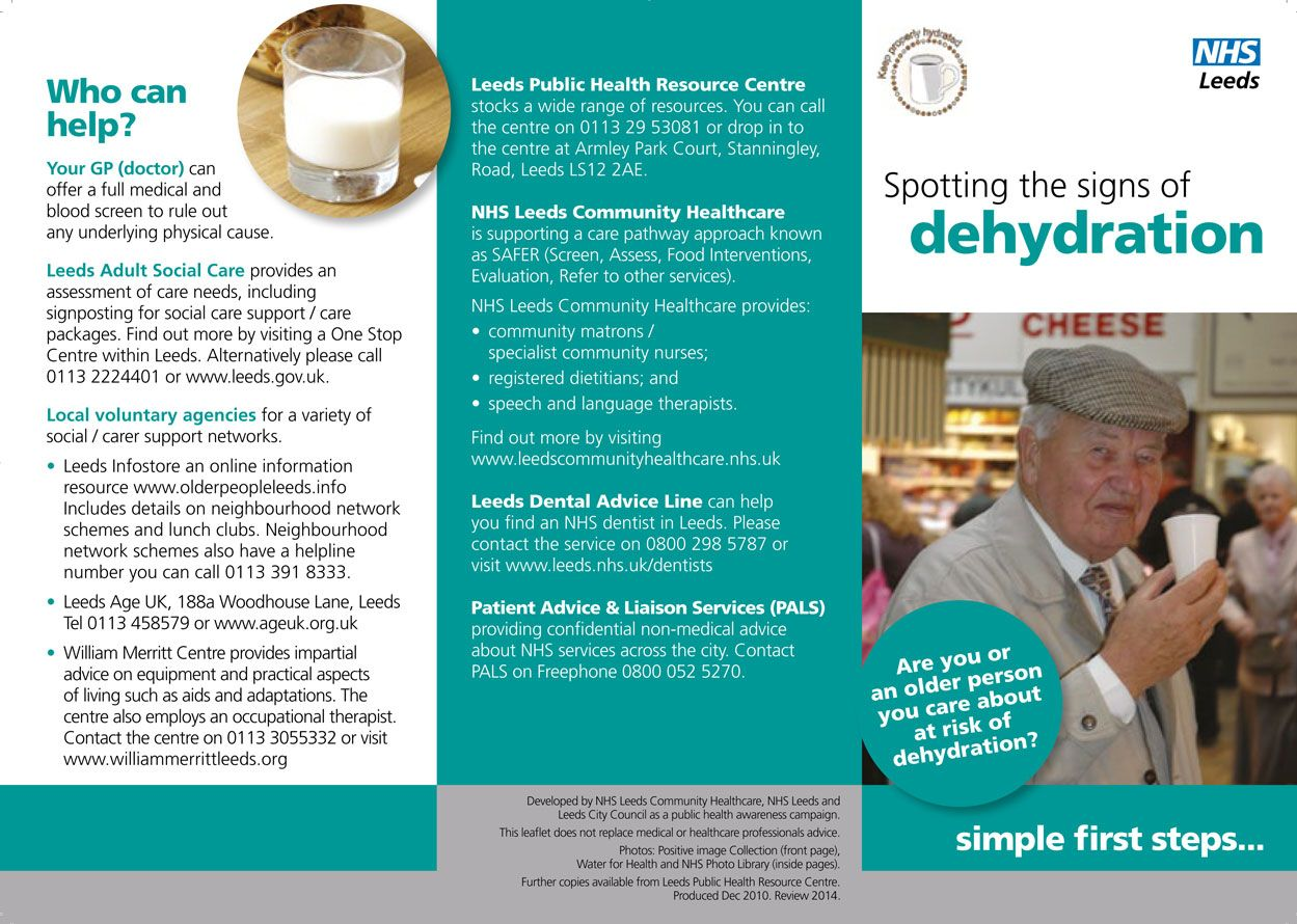 Spotting the signs of dehydration leaflet side 1