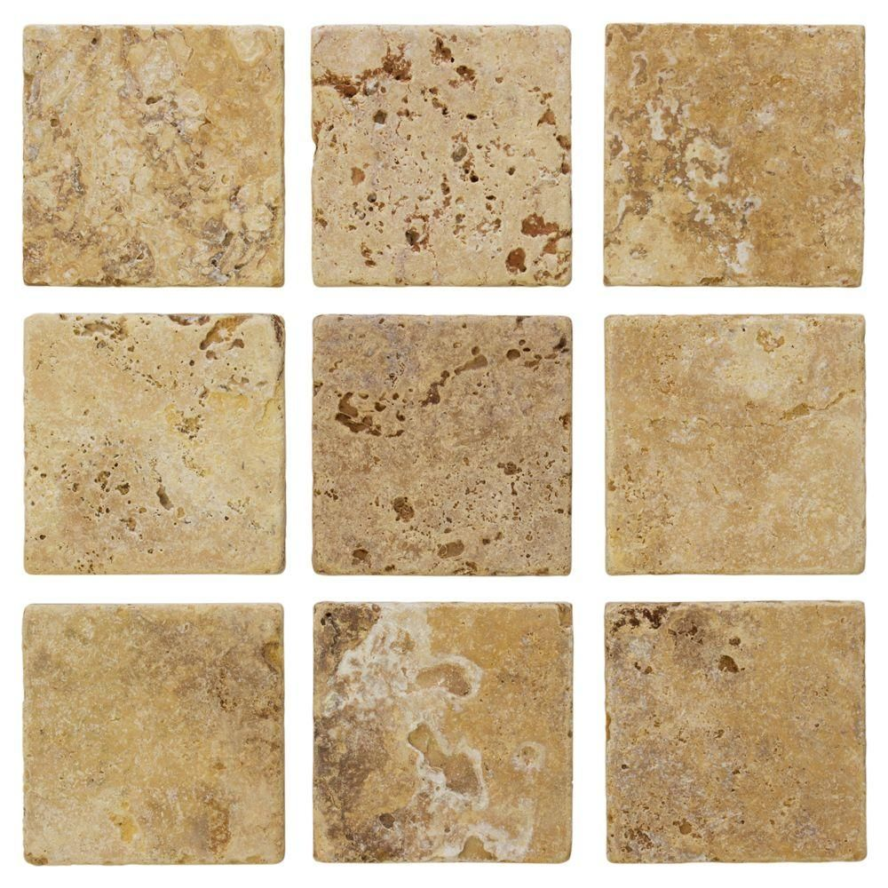 Jeffrey Court Travertino Gold 4 In X 4 In Tumbled Travertine Wall And Floor Tile 1 Sq Ft Pack 99111 The Home Depot In 2020 Travertine Travertine Floors Travertine Wall Tiles