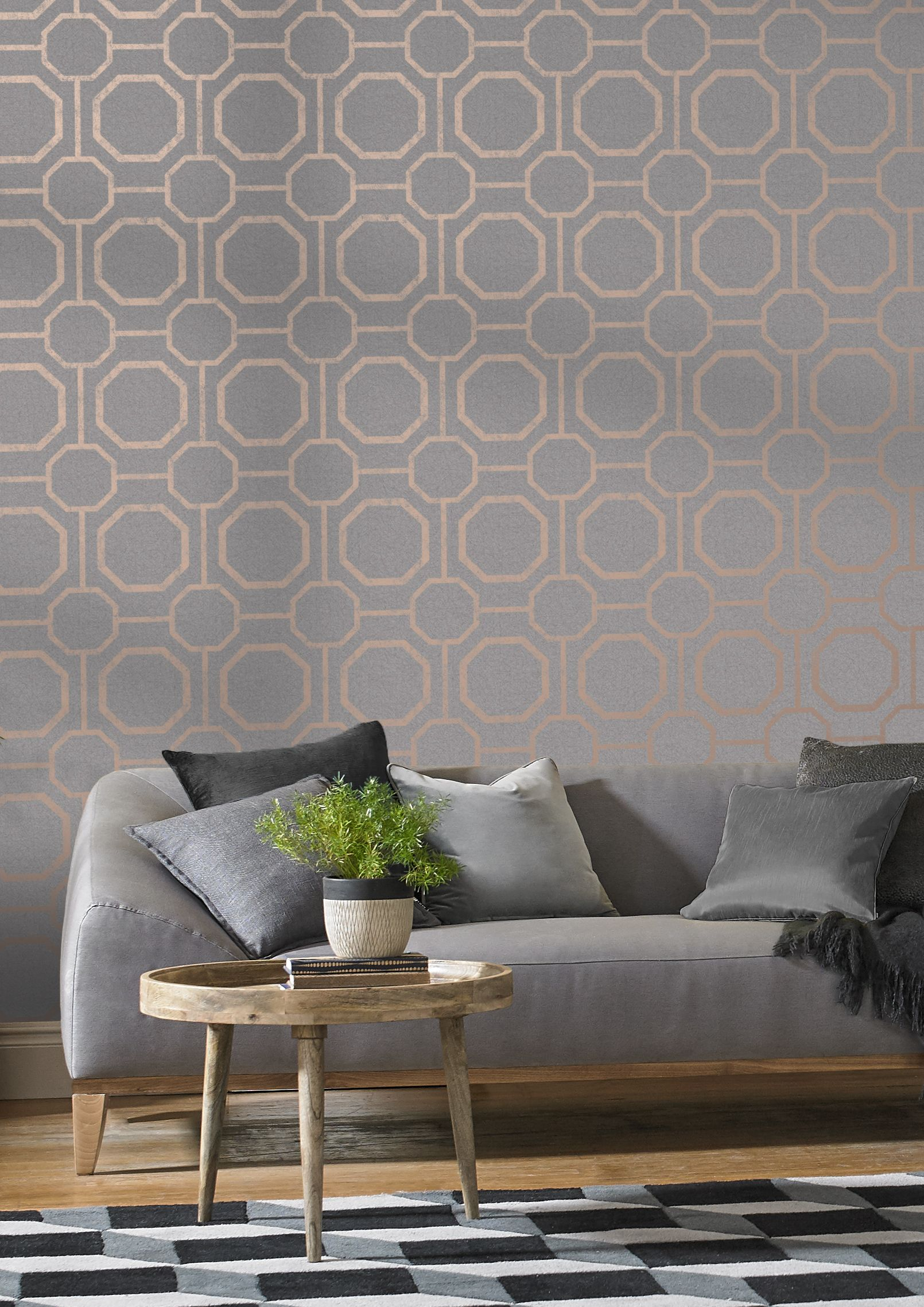 Marrying An Earthy Textured Grey Backdrop With Rose Gold Metallic Geometric Detai Living Room Decor On A Budget Wallpaper Living Room Living Room Design Decor