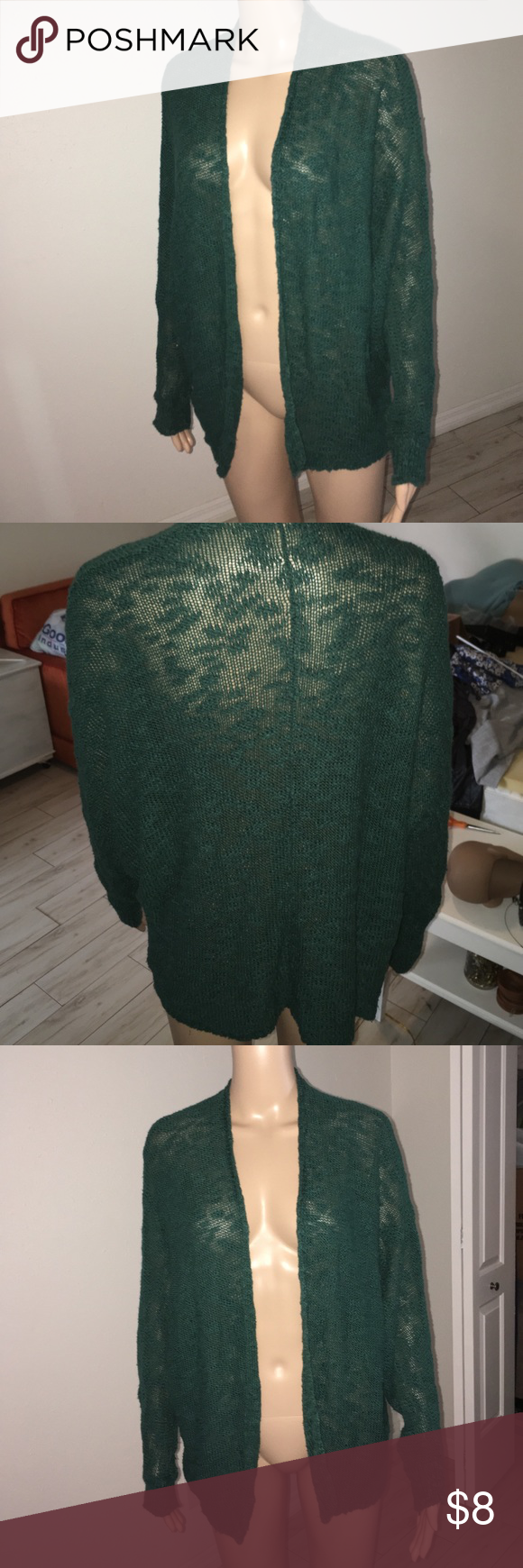 Cardigan Dark turquoise open front semi sheer cardigan with crocheted pattern Sparkle & Fade Sweaters Cardigans