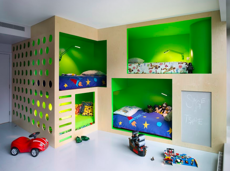Hideaway Bunk Beds With Green Walls