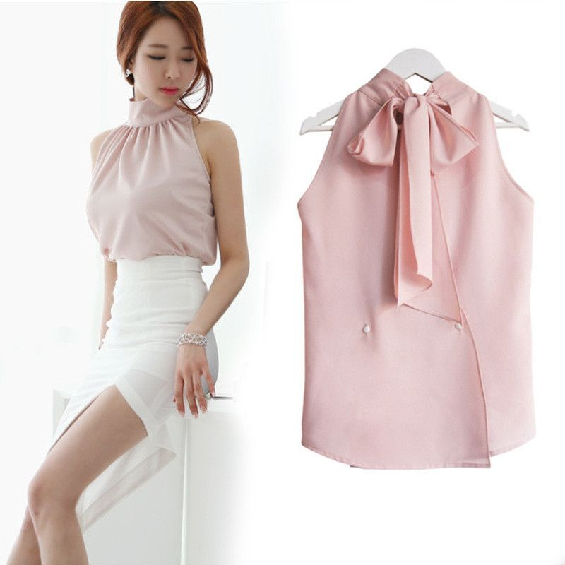 ba1748b9f47182 Women's Fashion Summer Sexy Strapless Halter Bow Chiffon Turtleneck Shirt  Sleeveless Princess Tops Blouse