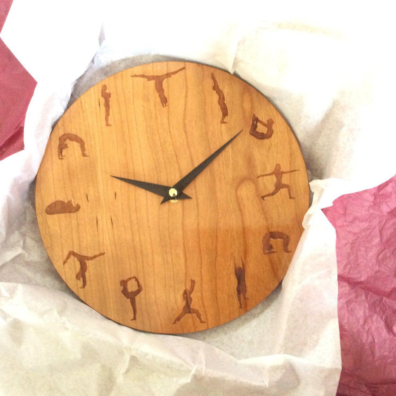 Yoga Clock Yoga Yoga Wall Clock Wood Wall Clock Wall Clock Wood Clock Large Wall Clock Clock Wall Clocks Wall Clock Gift Wood Wall Clock Wood Clocks