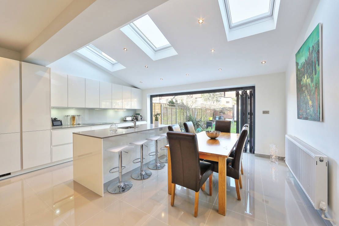 Open Plan Kitchen Family Extension With Glass Doors And Skylights Google Search Open Plan Kitchen Dining Living Morden Kitchen Design Kitchen Extension