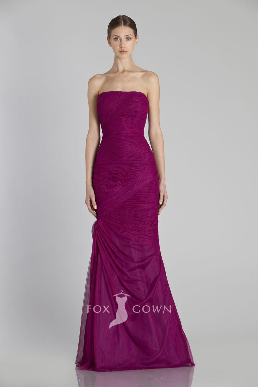 chiffon strapless side draped floor length bridesmaid dress ...