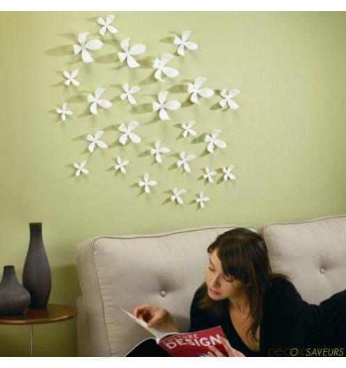 decoration murale fleur blanche