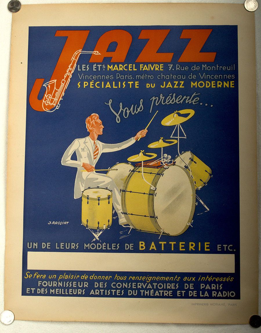 1940 vintage jazz poster french affiche marcel faivre drum kit art deco rarity ebay