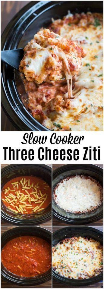 Slow Cooker Three Cheese Ziti #crockpotmeals