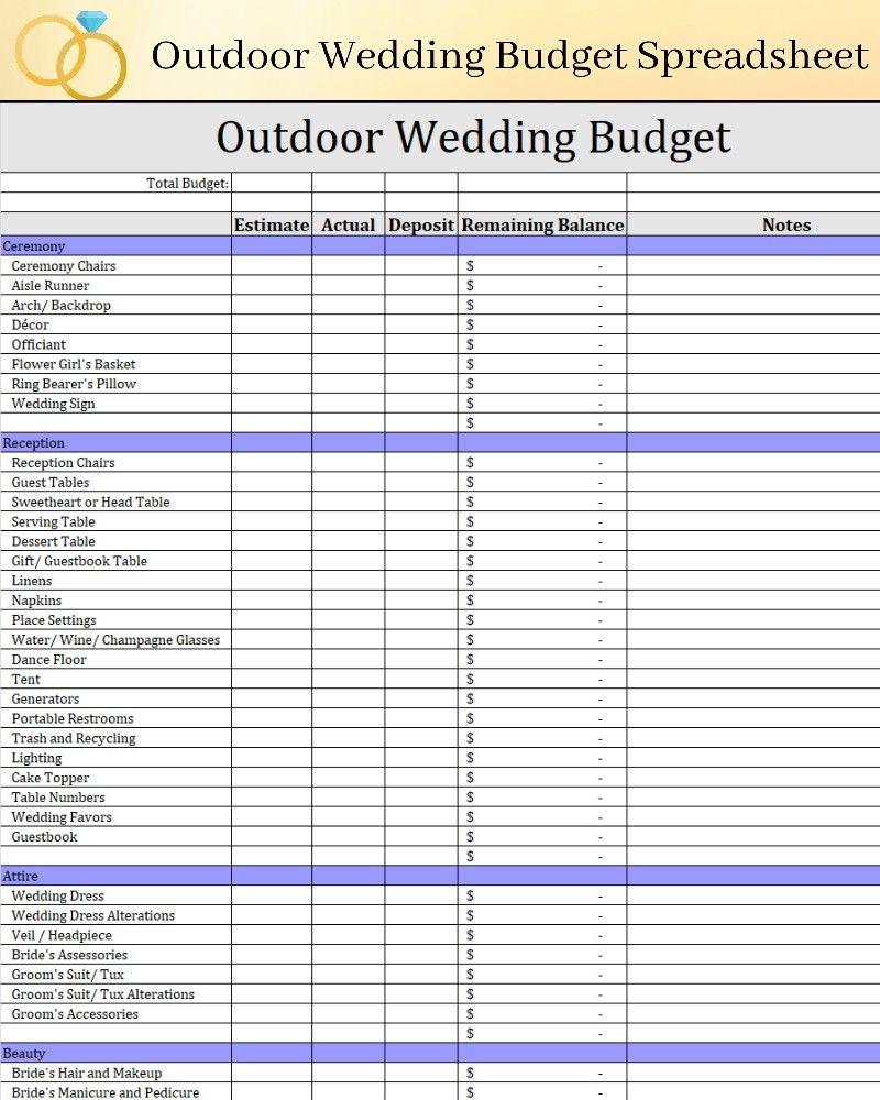 Outdoor Wedding Budget Template Backyard Wedding Budget Etsy Wedding Budget Spreadsheet Budget Wedding Wedding Budget Template