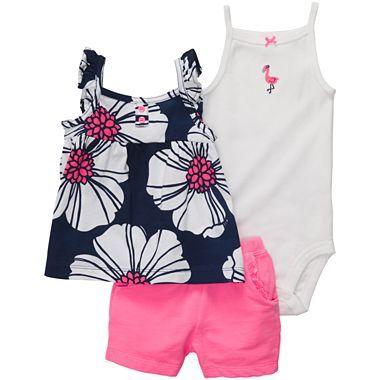 60d7d6dc3 Carters® 3-pc. Short Set - Girls newborn-24m - jcpenney