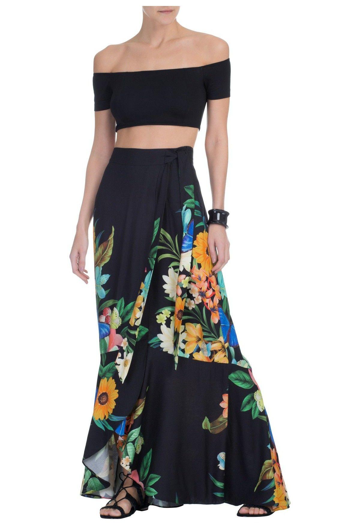 82e7693ac FARM - Saia longa floreando - preta - OQVestir   roupas e acessórios ...