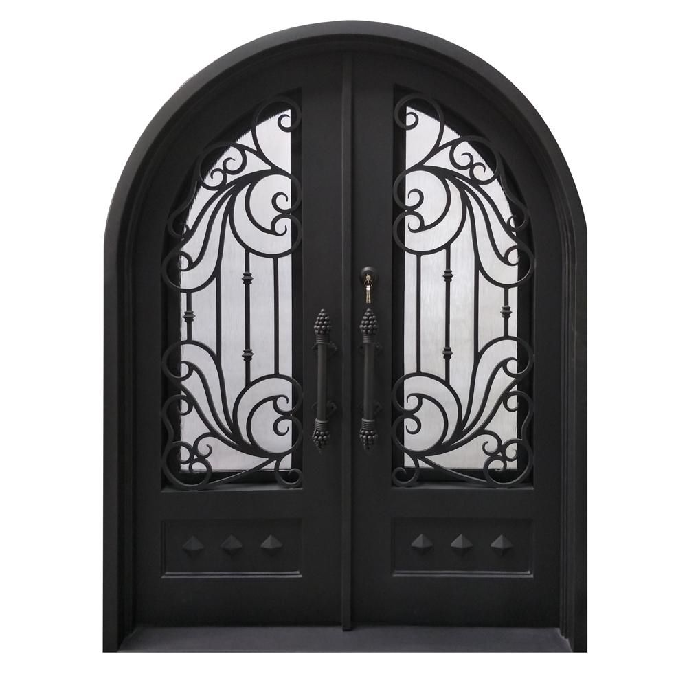 Aleko 62 In X 81 In Matte Black Right Hand Inswing 1 Lite Clear Double Glazed Iron Prehung Front Door In 2020 Iron Front Door Entry Doors Iron Doors
