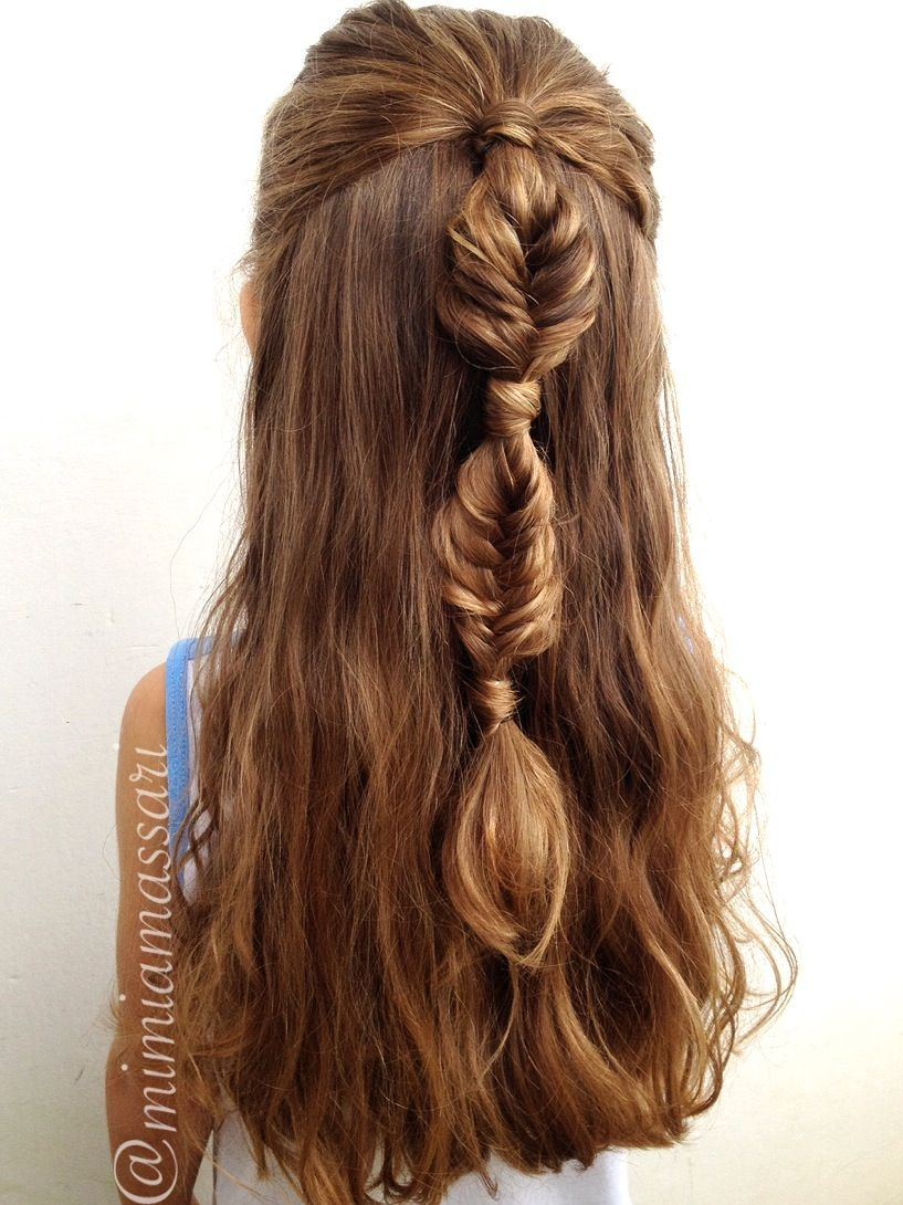 Bubble fishtail braid cool hair pinterest fishtail braids