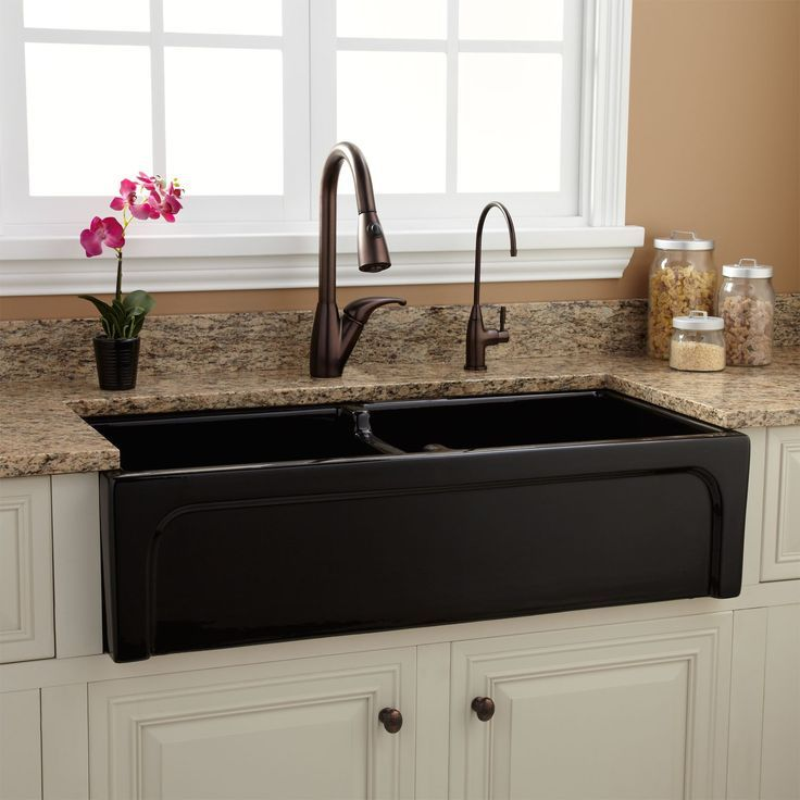 "International Concepts Brown Farmhouse Kitchen Island At: 39"" Risinger Double-Bowl Fireclay Farmhouse Sink"