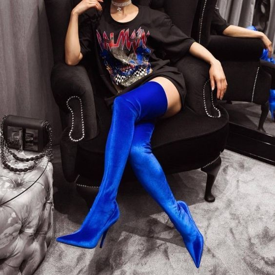 Royal Blue Thigh High Heel Boots Pointy Toe Stilettos Heel Boots