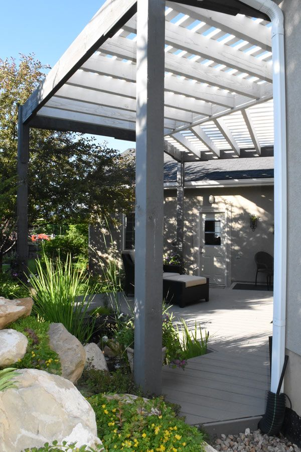 Contemporary style ShadeScape™ free standing DIY pergola kit installed for  shade nect to house. - Design Your Own Outdoor Space, Your Specs: Best DIY Pergola Kit