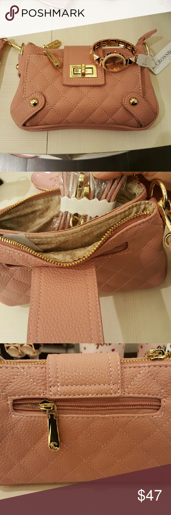 Rose gold convertible crossbody Brand new with tags Charming Charlies clutch bag. With removeble strap that converts it to a crossbody Charming Charlie Bags Clutches & Wristlets