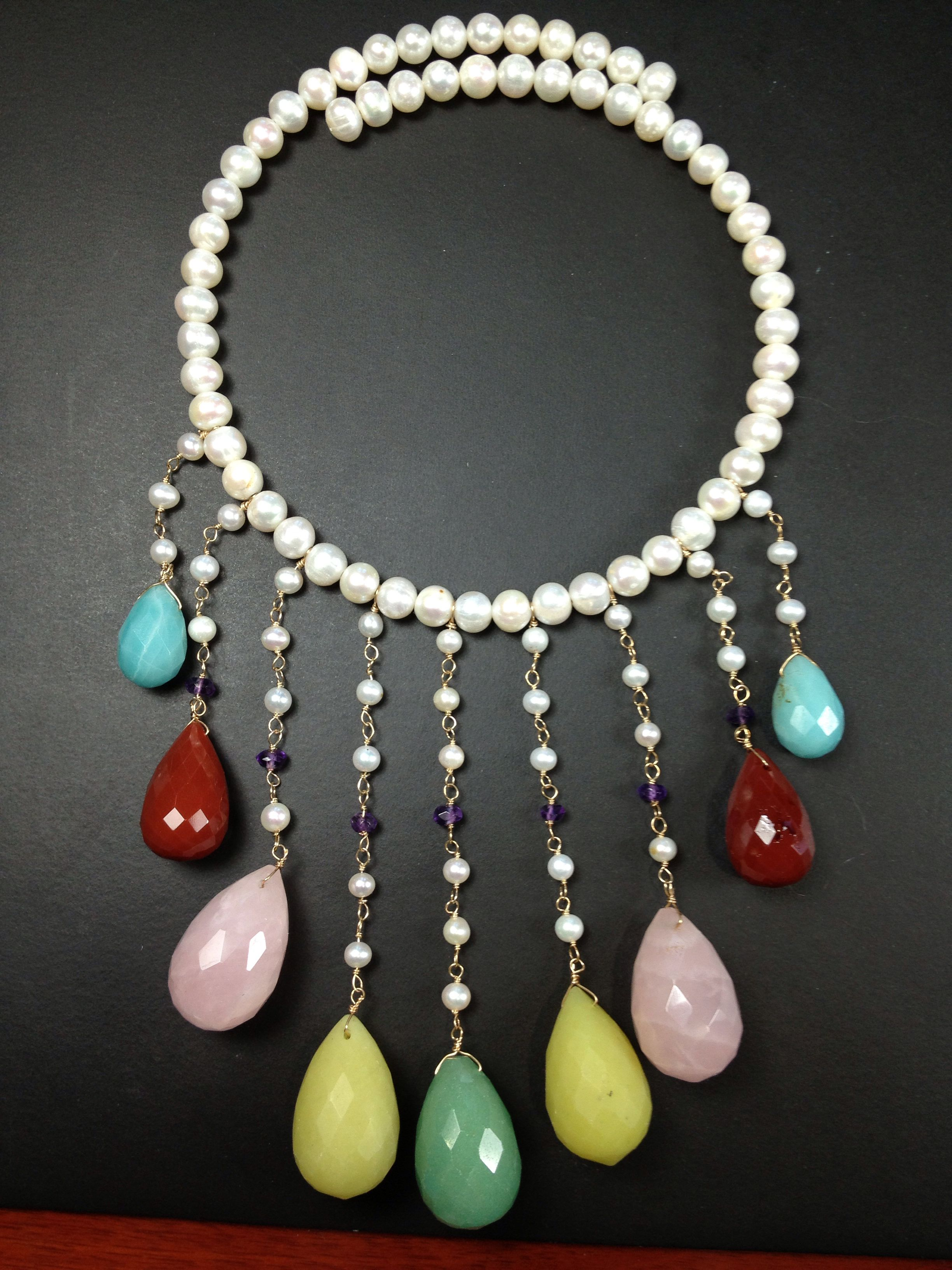 Multi gemstones and Pearls by Pearl Lustre