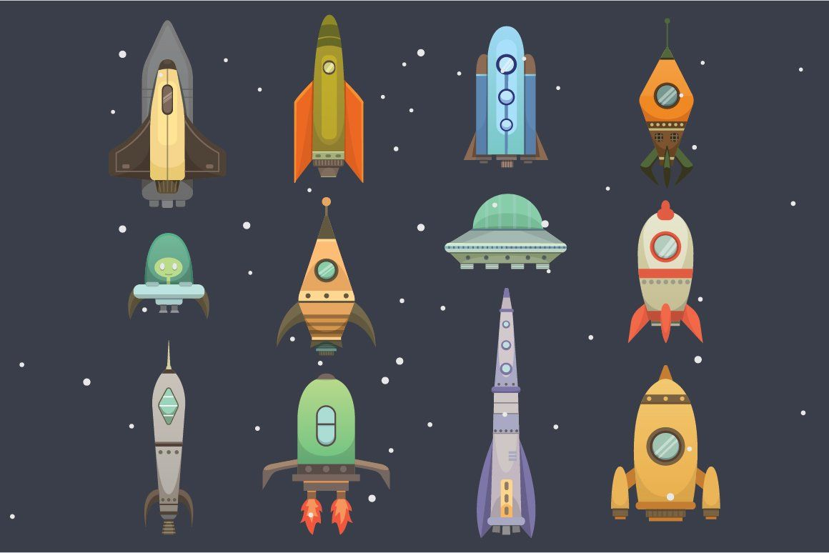 Rocket Ship In Cartoon Style