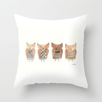 owls in jumpers Throw Pillow by Mirtle - $20.00