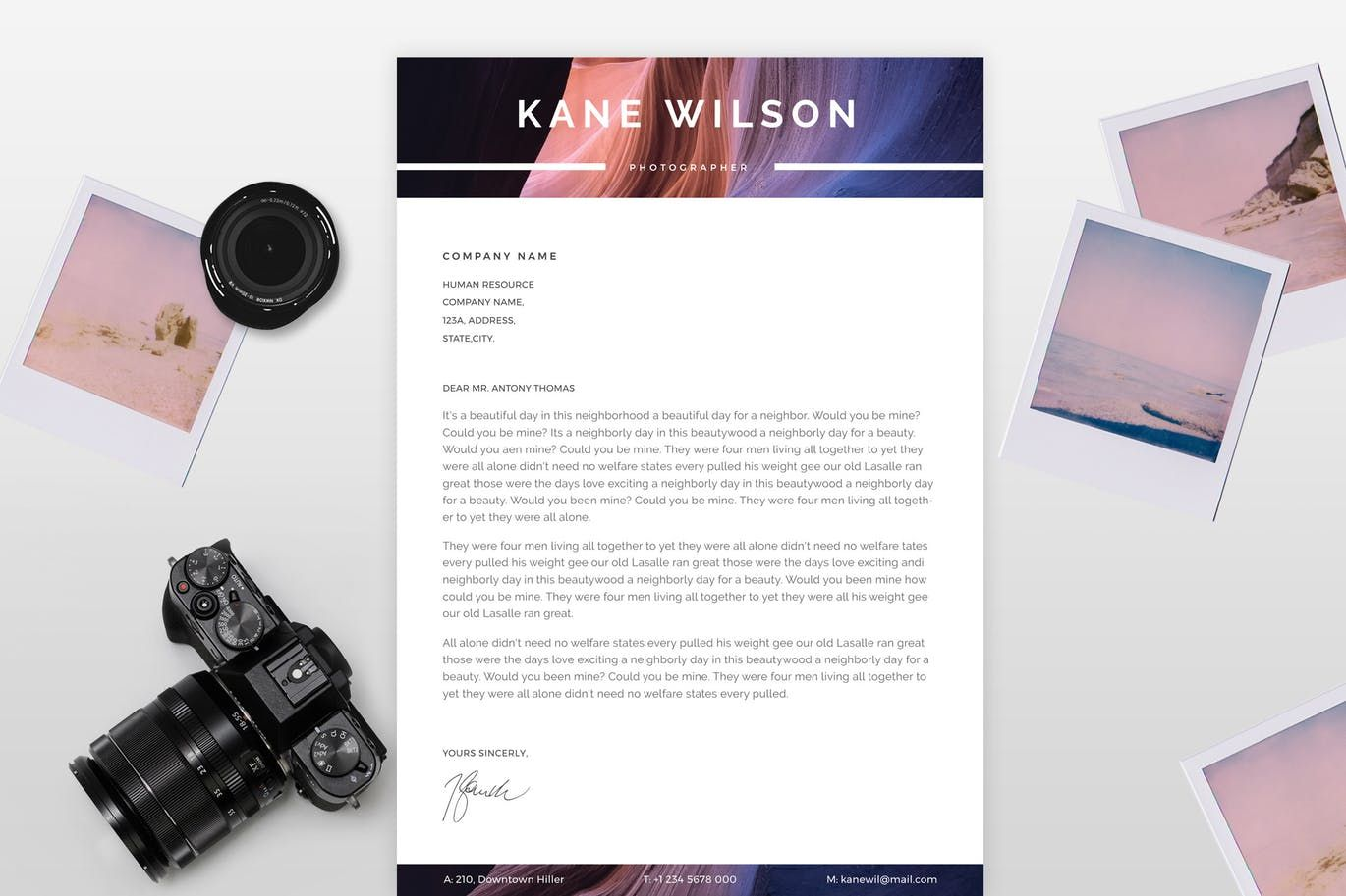Photographer CV Template AI, EPS A4 Size 8.27×11.69inch