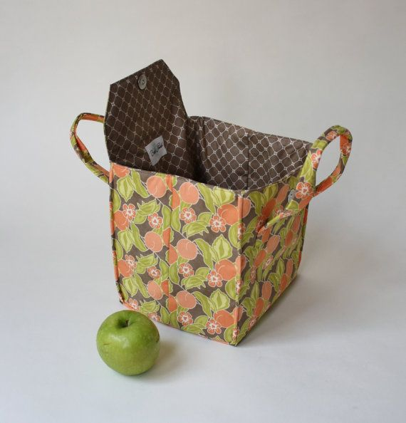 Orange Blossom Fall Lunch Bag Insulated Lunch by binskistudio