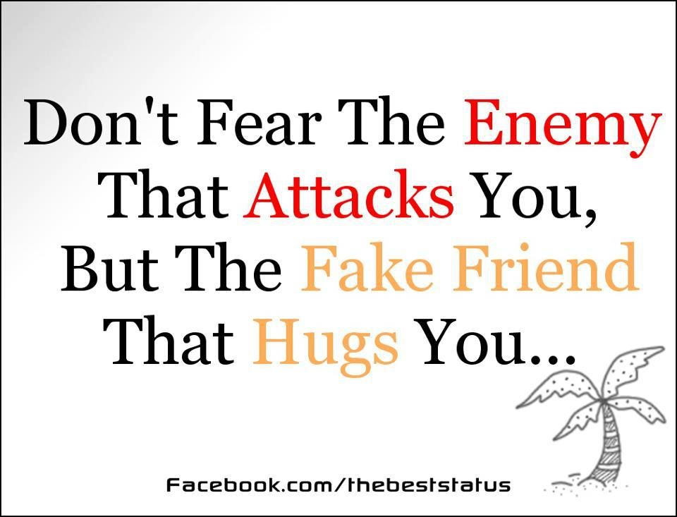 Don T Fear The Enemy That Attacks You But The Fake Friend That Hugs You Comfort Quotes Friendship Quotes Friends Quotes Funny