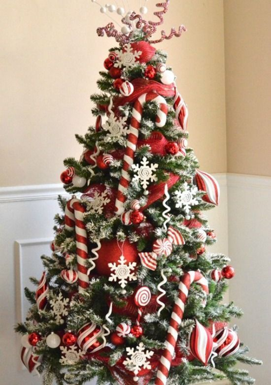 red and white christmas tree with oversized balls and candy canes