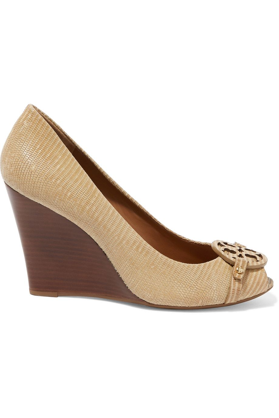 Tory Burch Mini Miller croc-effect leather wedge pumps