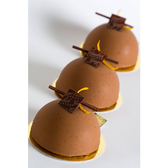 Cafe Cremeux- Milk Chocolate Cremeux, Flourless Chocolate Espresso Cake with an Orange-Scented Shortbread