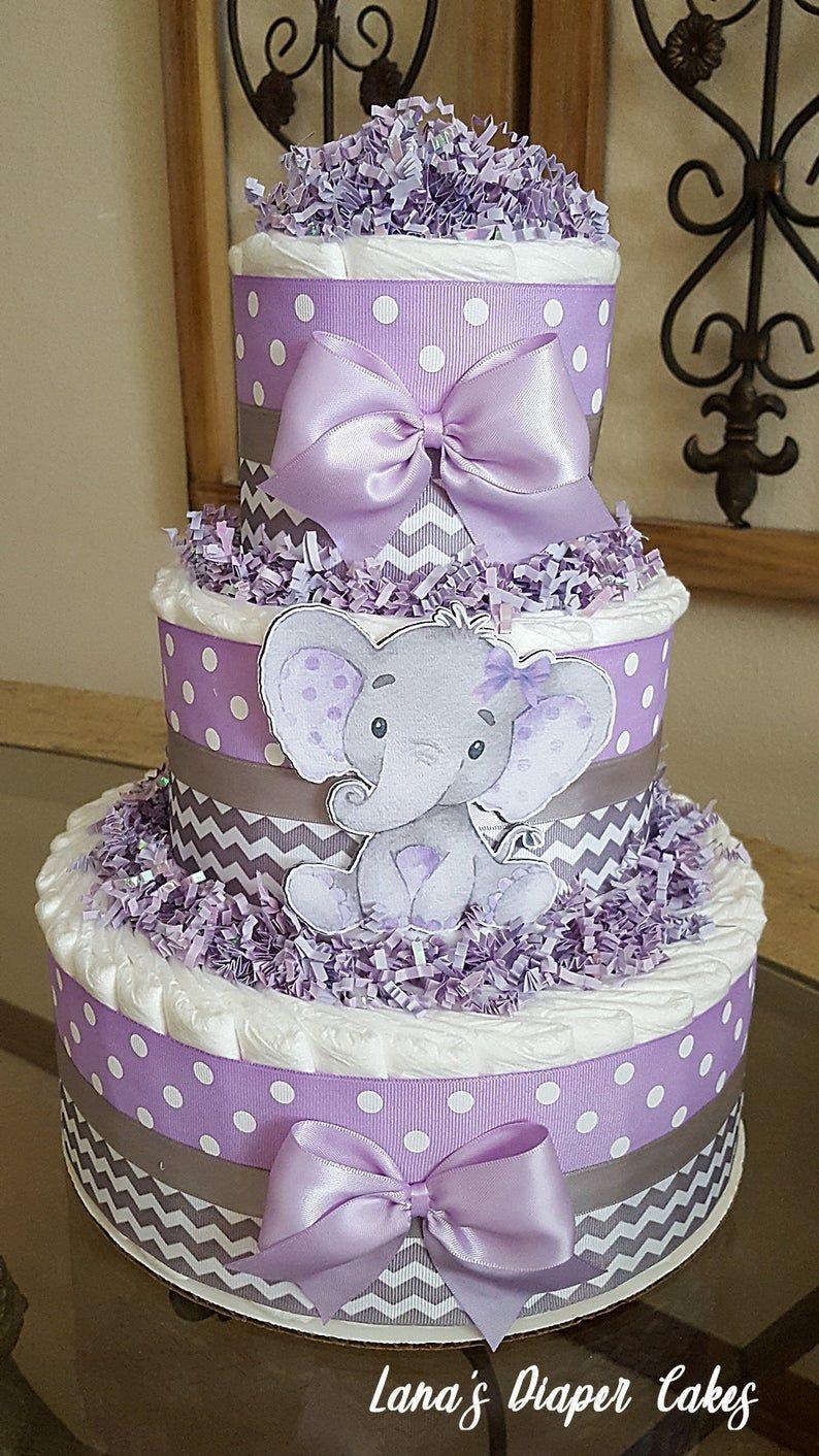 3 Tier Lavender Gray Elephant Diaper Cake Girl Baby Shower Etsy In 2020 Baby Girl Diaper Cake Elephant Diaper Cakes Girl Baby Shower Centerpieces