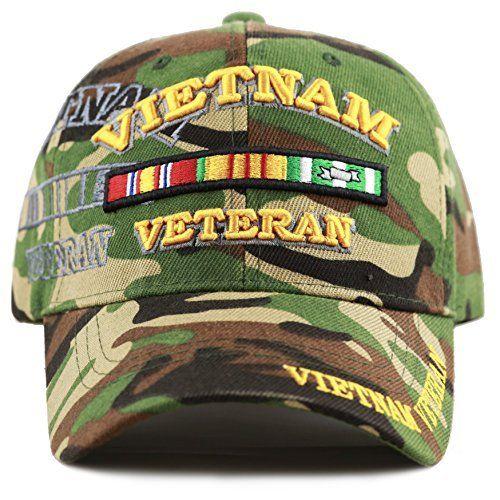 704e640c864 Vietnam Veteran Cap Military Vet Vintage Light OD Green Mens Hat Olive