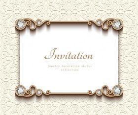 Vintage Golden Frames With Diamond Invitation Vector 03 Vector Frames Borders Free Download Diamond Invitations Vintage Cards Invitations