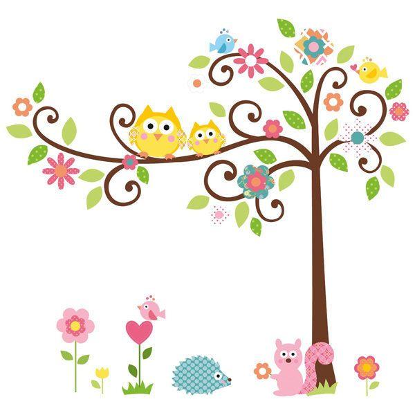 Stickers muraux dessins anim s arbre hiboux mignon for Autocollant mural arbre