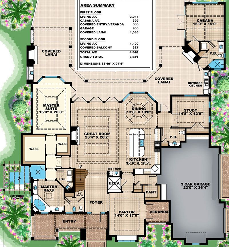 Plan 66354we High End Florida House Plan Mediterranean House Plan Mediterranean Style House Plans Mediterranean Homes