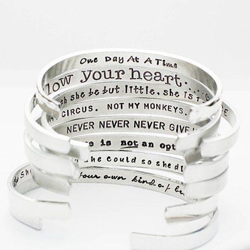 Hand Stamped Jewelry Aluminum Silver Cuff Bracelet I Believe In You Hand Stamped Cuff Bracelet