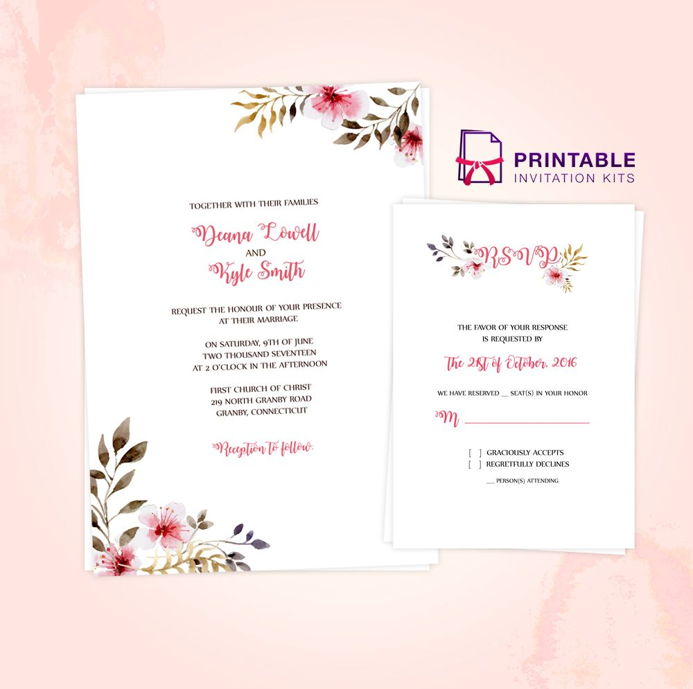 Clean Delicate Vintage Floral Invitation And Rsvp Printable Pdf Templa Free Wedding Invitation Templates Wedding Invitation Templates Free Wedding Invitations
