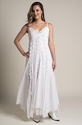 4c6a326f5162 White Bohemian Western Wedding Dress in Cotton.  DRCT 1118