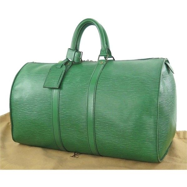 a2e3ccfa17 Pre-owned Louis Vuitton Keepall 45 Epi Leather Canvas Duffel Green...  ( 628) ❤ liked on Polyvore featuring bags