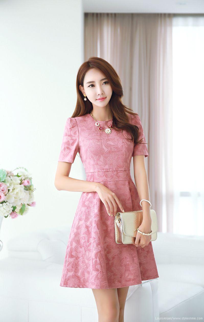Floral Jacquard Short Sleeve Flared Dress | Vestiditos, Vestido de ...