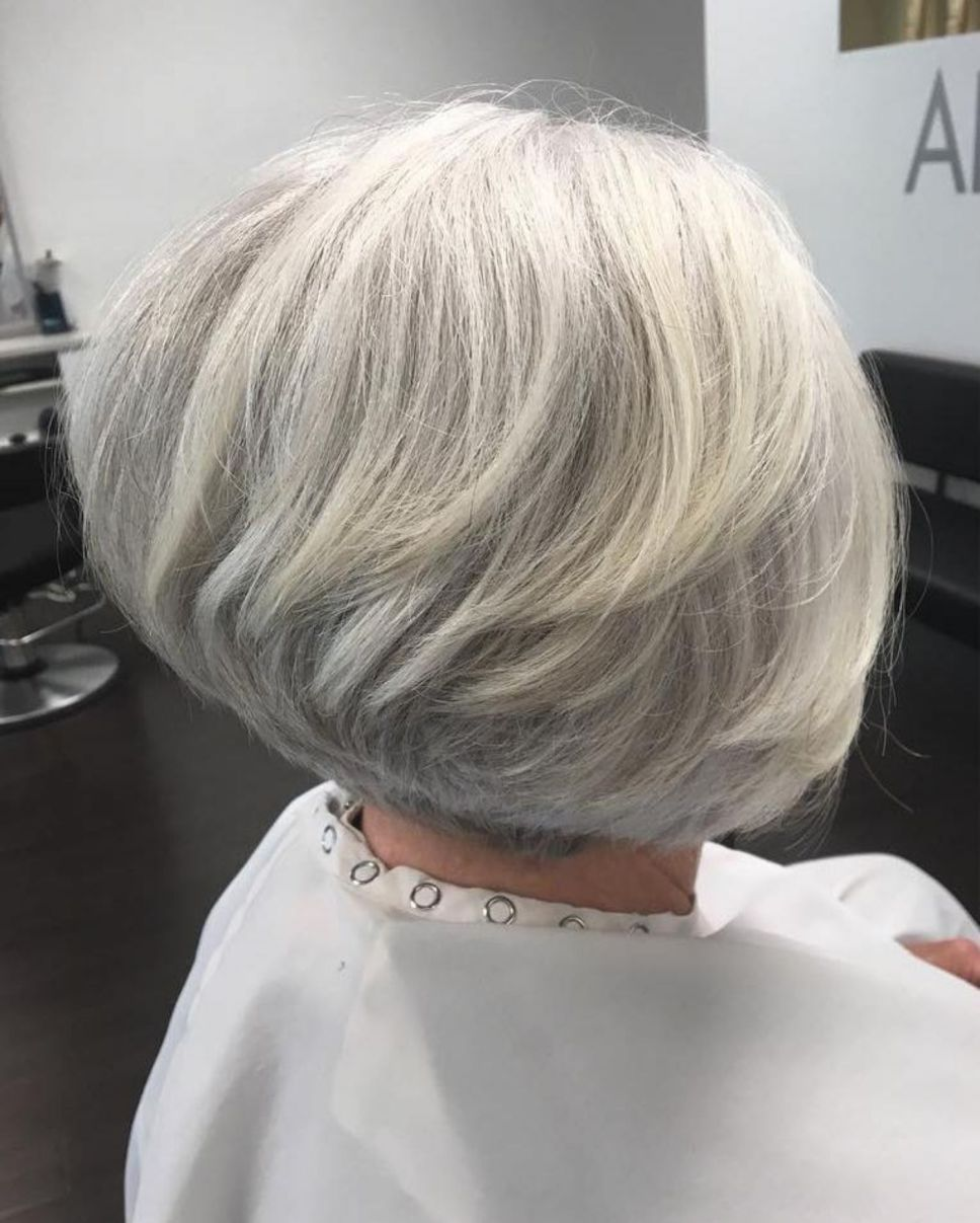 short stacked gray and white bob | gray hair in 2019 | long