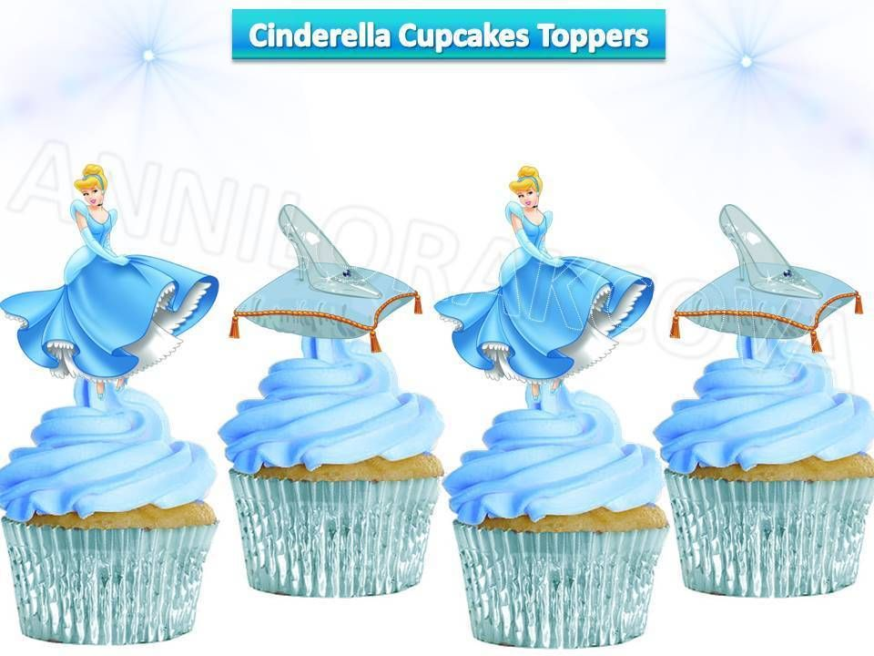 Princess Cinderella cupcakes toppers, cinderella toppers, cake, figures, U print